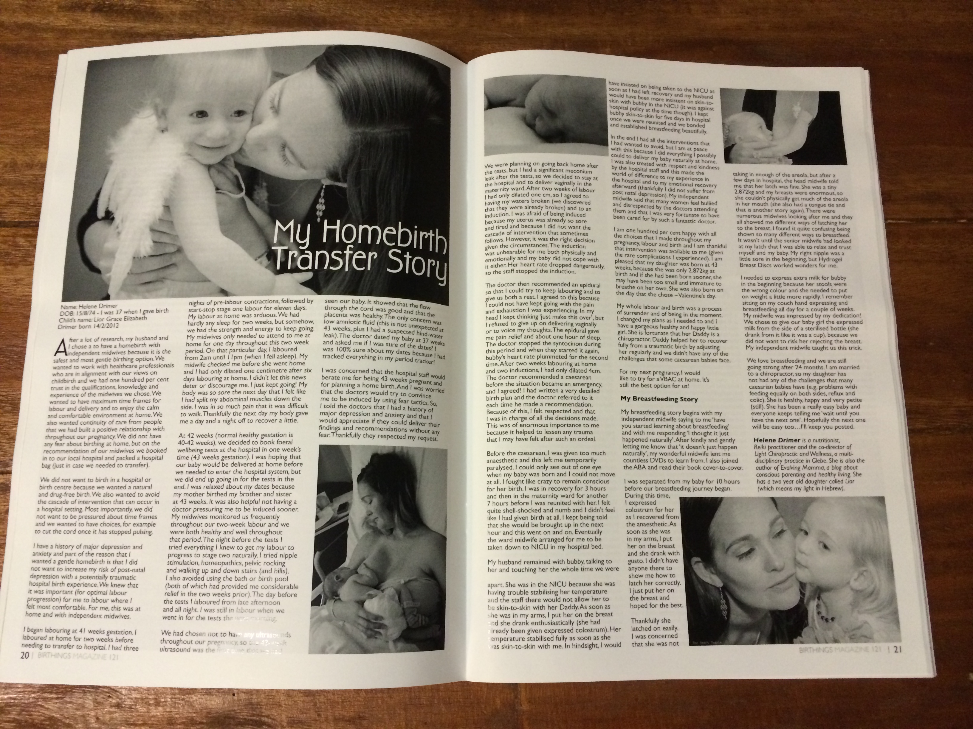 My homebirth transfer story – published in Birthings Magazine
